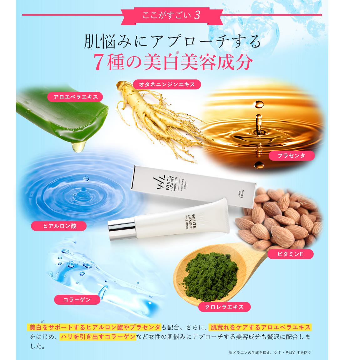 肌悩みにアプローチする7種の美白美容成分